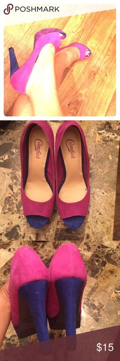 FLASH SALECandie's Color Block Peep Toe Pump 2 HOUR SALE!! Heels are about 4.5 inches or so, but they're thicker than a typical stiletto heel so I found these pretty easy to walk in. Worn once, in awesome condition! Candie's Shoes Heels