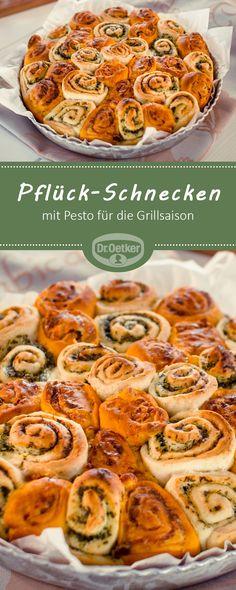 Pflück-Schnecken: Pikante Hefe-Schnecken mit Pesto für die Grillsaison #grillrezept ##pflückschnecke #pesto
