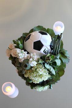 Soccer Ball & Florals   Centerpiece Inspiration   www.preferred-events.com