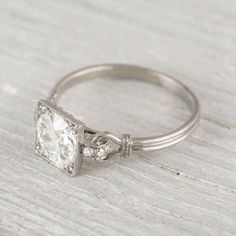 The unexpected connection between the primary diamond and the band. | 40 Vintage Wedding Ring Details That Are Utterly To Die For