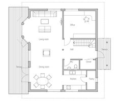 Small House Plan CH38. Floor Plan from ConceptHome.com