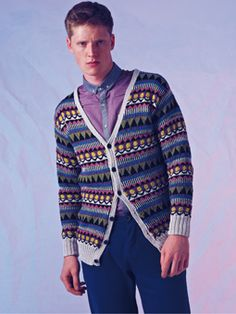 Knit this mens fairisle cardigan from Rowan Knitting & Crochet Magazine 53, a design by Martin Storey using the beautiful mercerised cotton yarn, Siena 4ply (cotton). With a striking geometric pattern, contrast edgings and shallow set-in sleeves, this knitting pattern is suitable for the more experienced knitter.