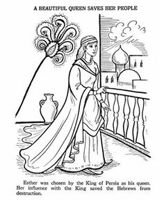 Bible Printables - Old Testament Bible Coloring Pages - Ester 1 Bible Story Crafts, Bible Stories, Bible Coloring Pages, Coloring Books, Coloring Sheets, Adult Coloring, Queen Esther Bible, Old Testament Bible, Sunday School Coloring Pages