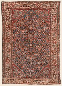 Antique Persian Husseinabad with allover Herati pattern in cobalt, ivory, and crimson Antique Rug - Claremont Rug Company Persian Carpet, Persian Rug, Square Rugs, Iranian Art, Rug Company, Oriental Rugs, Carpet Colors, Rugs On Carpet, Bohemian Rug