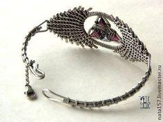 """Купить Комплект """"Крылья ангела"""" - браслет серебряный, серьги серебряные, браслет с родолитами, bracelet, earring"""
