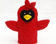 Cardinal, felt finger puppet, bird puppet, storytime puppet