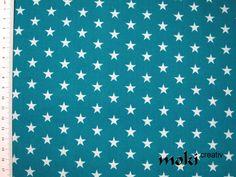 Stoff Sterne petrol weiß gemustert Baumwollstoff  von moki-creativ auf DaWanda.com