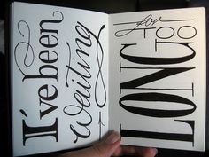 hand -drawn type.