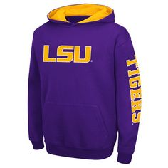 """LSU+Tigers+""""Zone""""+Youth+Pullover+Hoodie+by+Colosseum"""