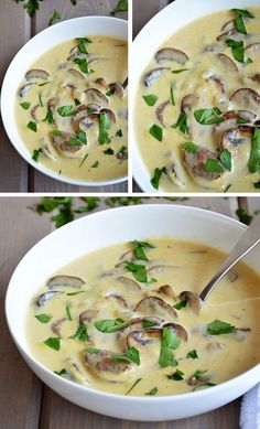 Ingredients 2 tablespoons butter ¼ medium chopped onion 1 clove chopped garlic 3 tablespoons flour 2 cups vegetables or chicken broth 1 cup milk or ½ cup cream ½ teaspoon…, Soup Recipes Soup Recipes, Cooking Recipes, Healthy Recipes, Recipies, Creamed Mushrooms, Stuffed Mushrooms, Turkish Recipes, Ethnic Recipes, Good Food