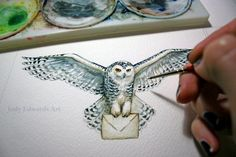 Snowy Owl Mail Carrier - Original watercolour