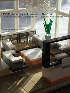 """LEGO Modern House - Redux - in the Style of Mid-Century Modern Architecture by Bricksare4me - as seen at BrickCan 2016 in Vancouver BC - awarded """"Best Edifice"""" - living room"""