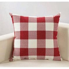 Red White Retro Checkers Plaids Linen Square Throw Pillow Cover Decorative New  | eBay
