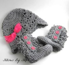 Hot pink and gray hat and ugg booties; baby photo prop; stitchesbystephann