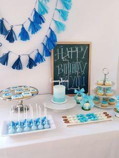 Tissue Paper Tassels Garland Blue Pink Theme Baby Shower Party