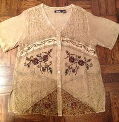 MPH Collection Embroidered Beaded Boho Shirt Top XL $9.99 eBay