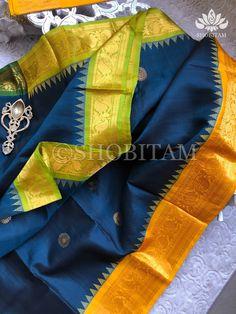 Gadwal Silk Saree in Ganga Jamuna Borders | Silk Mark Certified | Shob – Shobitam Kanjivaram Sarees, Silk Sarees, Blue Bodies, Shades Of Blue, New Day, Color Combinations, Unique, Beautiful, Brand New Day