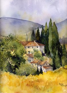 watercolour landscape of a scene in Tuscany Buy this artwork on home decor stationery bags et more. Landscape Artwork, Watercolor Landscape, Watercolor Paintings, Watercolors, Contemporary Landscape, Watercolor Architecture, Landscape Architecture, Painting Techniques, Painting Inspiration