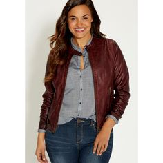 maurices Plus Size - Moto Jacket With Button Tabs And Knit Ribbing