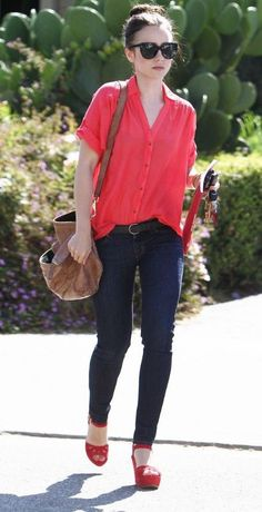 Lily Collins, casual spring
