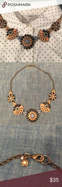 JCrew Statement Necklace Shades of blue and coral/peach make this a versatile necklace! Looks amazing with any style! Better get it before she steals it! J. Crew Jewelry Necklaces