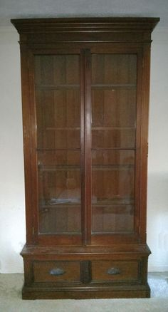 2 DOORS WITH ORIGINAL WAVY GLASS. 2-DRAWER BASE WITH HAND CARVED PULLS. WAINSCOTING BACK. | eBay!