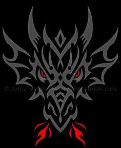 Tribal - Anne Stokes - Tribal dragon head