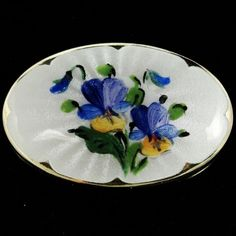 Norway Guilloche Enamel Sterling Silver Vermeil Pansy Brooch Ivar Holth