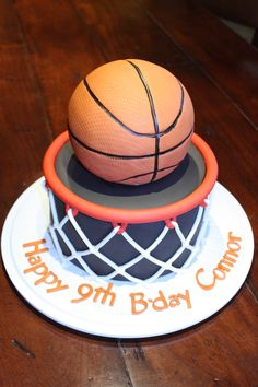 basketball birthday cake. Basketball is rice krispie treat