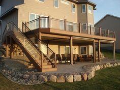 2nd floor deck ideas - Google Search Patio Under Decks, Decks And Porches, Screened Porches, Patio Deck Designs, Patio Design, Second Story Deck, Deck Construction, Building A Porch, Building Homes