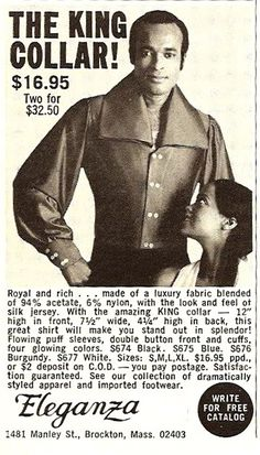 Outrageous mens Fashion Ads From The 1970s butterfly collar