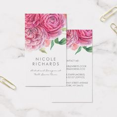 Pink Watercolor Flowers Elegant Botanical and Chic Business Card