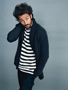 stripes + cardigan