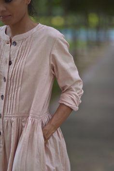 Madrid Pure handloom cotton Khadi dress in vintage pink