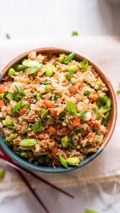 Vegan Cauliflower Fried Rice ~ Healthy AF Made it Used frozen peas instead of edamame, and pepper flakes and cayenne pepper instead of chili paste. Rice Recipes For Dinner, Veggie Recipes, Whole Food Recipes, Diet Recipes, Vegetarian Recipes, Cooking Recipes, Healthy Recipes, Broccoli Recipes, Easy Recipes