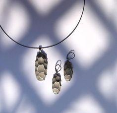 Concrete jewelry set Grace in silver spiderweb
