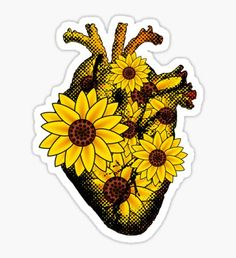 Summer stickers featuring millions of original designs created by independent artists. Stickers Cool, Cute Laptop Stickers, Tumblr Stickers, Printable Stickers, Sunflower Hearts, Sunflower Pictures, Sunflower Wallpaper, Journal Stickers, Aesthetic Stickers