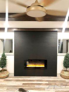 Our Black Wallpaper Wall with a Fireplace Insert! – Jennifer Allwood Home Fireplace Trim, Basement Fireplace, Paint Fireplace, Black Fireplace, Small Fireplace, Fireplace Inserts, Fireplace Surrounds, Fireplace Design, Fireplace Ideas