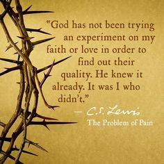God has not been trying an experiment on my faith or love in order to find out their quality. He knew it already. It was I who didn't. C S.Lewis