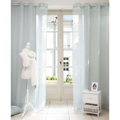 Rideau � �illets en tissu bleu 140 x 250 cm BEAUNE