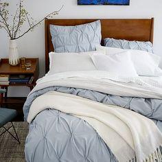 $95 Organic Cotton Pintuck Duvet Cover + Shams - Moonstone