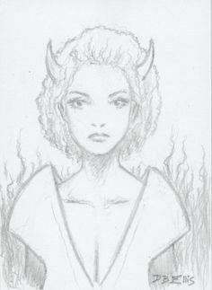 DEMON PRINCESS  original fantasy art, ACEO,  by David Ellis