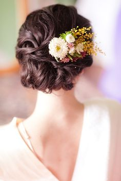 peinados de novia semi recogido con flores - Buscar con Google