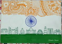 India Flag Indian flag Happy Independence day Happy Republic day Pic for uploads on special days of India. By Rinkle Sheth Independence Day Drawing, Independence Day Theme, Happy Independence Day India, India Painting, Flag Painting, Indian Flag, Indian Folk Art, Indipendence Day, Flag Drawing