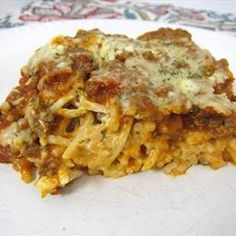 Baked Cream Cheese Spaghetti Casserole on BigOven: This was the best thing we ate last week. It was quick and delicious!! I saw a version of this on Pinterest. It looked so good that I had to add it to the menu ASAP!