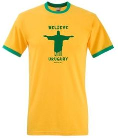 Uruguay Believe World Cup T-Shirt available at http://www.world-cup-products-worldwide.com/uruguay-believe-2014-football-world-cup-mens-t-shirt/