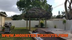 10x10 octogon tiki hut construction in Clearwater Florida - http://www.monstertikihuts.com/10x10-octogon-tiki-hut-construction-clearwater-florida/
