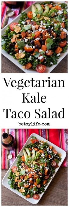 You won't even miss the meat in this Vegetarian Kale Taco Salad recipe. Super healthy, but still spicy and satisfying. A dinner your whole family will love.