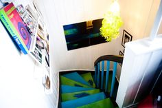 #stairs #colorful #painted #wallart #storage #TordBoontje Tord Boontje, Painted Stairs, Interior Stairs, Colorful, Wall Art, Decoration, Storage, Fun, Decor