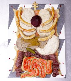 only for the ambitious... try making this 'human torso' spread for a creepy halloween party dish! everything is (of course) totally edible #halloween